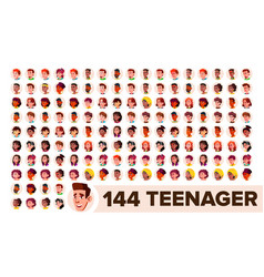 teenager avatar set girl guy multi vector image