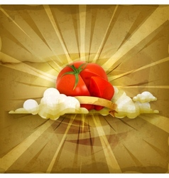 Tomato old style background vector image