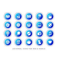 Universal leisure web and mobile icons vector