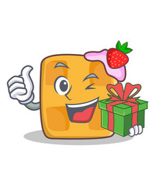 Waffle character cartoon design with gift vector
