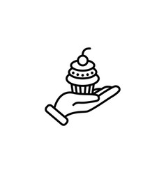 web line icon cake dessert in hand vector image
