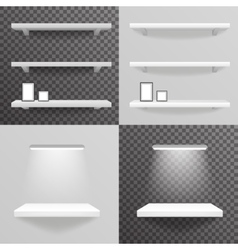 White shelf hanging on a wall with light photo vector