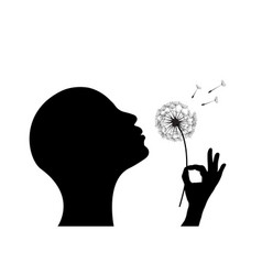 Woman blowing a dandelion vector