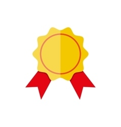 Yellow bank stamp icon with red ribbons vector