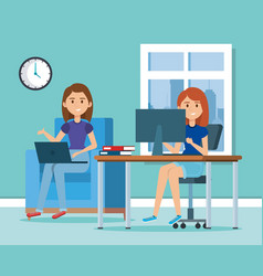 young women in the workplace scene vector image