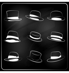 chalkboard hipster hat collection vector image