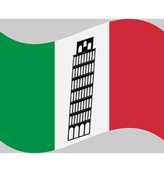 isa tower on background of Italy flag vector image