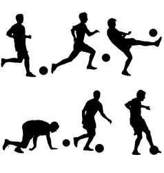 Set silhouettes of soccer players with the ball vector image vector image