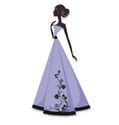 Silhouette of a beautiful girl in evening dress vector image vector image