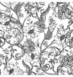 Vintage seamless pattern with blooming magnolias vector