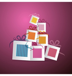 Colorful Abstract Paper Gift Boxes on Violet vector image vector image
