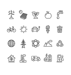 Ecology Outline Icon Set vector image