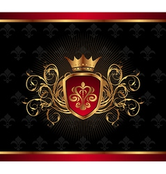 golden ornate frame with crown - vector image vector image