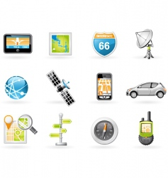 gps and navigation icon set vector image vector image