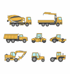 yellow construction machines icons set vector image vector image