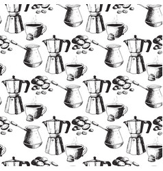 coffee production hand drawn seamless pattern vector image vector image