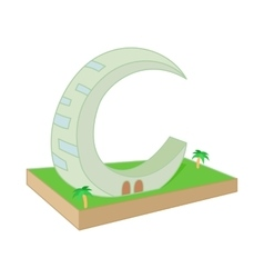 Crescent moon tower dubai icon in cartoon style vector