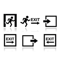 Emergency exit icons set vector image vector image