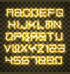 glowing yellow neon alphabet vector image