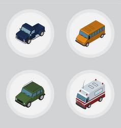 Isometric automobile set of autobus armored vector