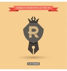 Logo emblem crown pen the letter R education vector image