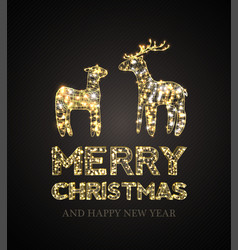 christmas card with magic deer and black vector image vector image
