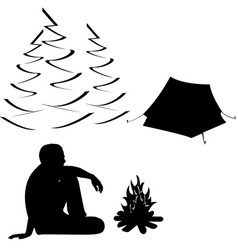 male tourist sitting near campfire and tent vector image