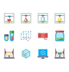 Printing 3D flat icons set vector image vector image