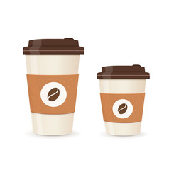realistic paper coffee cup set large and small vector image vector image