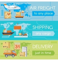 Set of delivery web banners vector image vector image