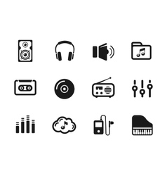 Several music themed icons vector image vector image