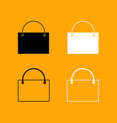 shopping bag set black and white icon vector image