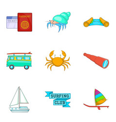 space for surfing icons set cartoon style vector image vector image