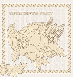 template with hand drawn Thanksgiving elements vector image