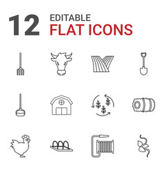 12 agriculture icons vector
