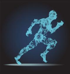 Abstract polygonal running man figure on dark vector