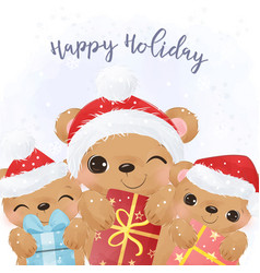 adorable christmas greeting card with cute bear vector image