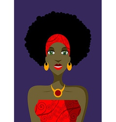 Afro woman with green eyes vector