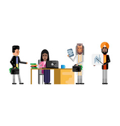Arabic and indian business staff working in office vector
