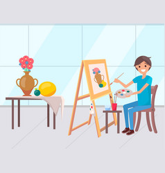 artist painting drawing still life painting easel vector image