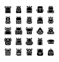 Back to school kids school backpack glyph icons s vector