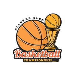 Basketball ball and cup icon sport championship vector