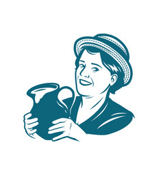 beautiful young woman with a jug milk dairy vector image