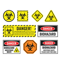 biohazard warning sign set biological hazard vector image