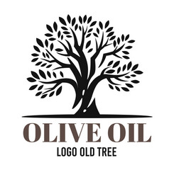 black olive tree on white background with text vector image