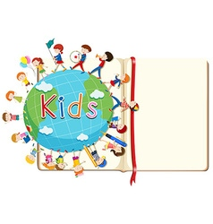 Blank book and kids around the world vector