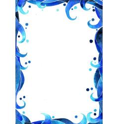 Blue ocean wave style border watercolor vector