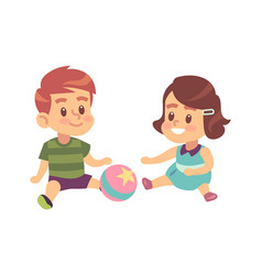 Boy and girl play together cute little vector