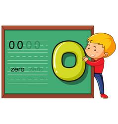Boy with number zero on blackboard template vector