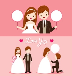 Bride And Groom In Wedding Clothing Set vector image